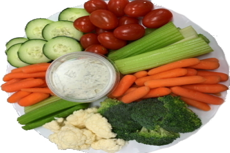 Homemade Fresh Vegetable Tray With Dill Dip