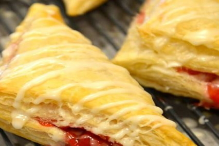 Home Baked Raspberry Iced Turnovers